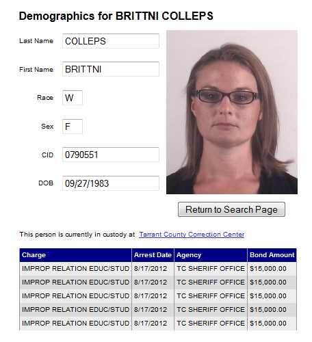 Colleps Brittni Tarrant Co Jail info.png
