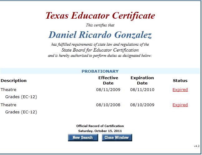 Daniel Ricardo Gonzalez Rio Grande City Texas Investigated Apr