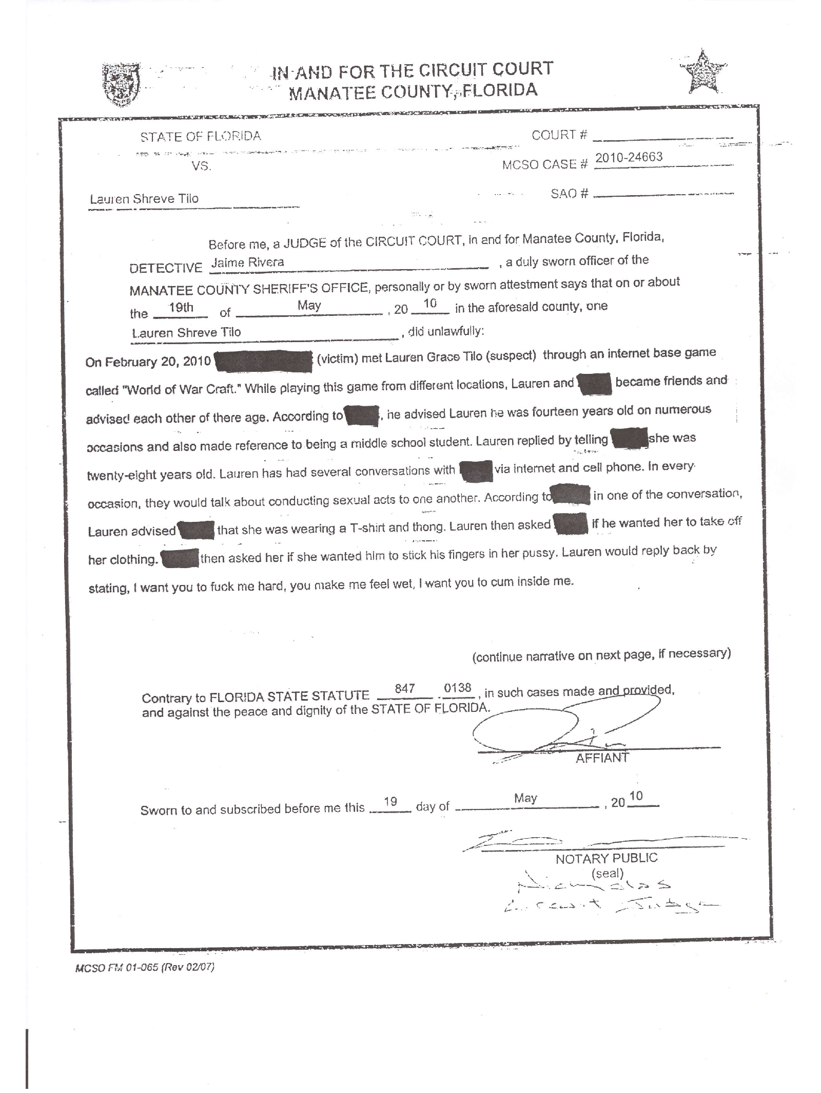 tilo lauren shreeve arrest report.png