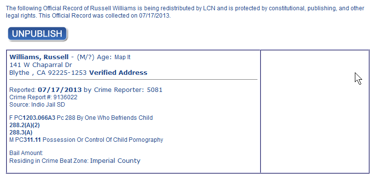 Williams Russell A arrest info.png